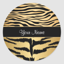 Black and Gold Metallic Tiger Stripes Pattern Classic Round Sticker