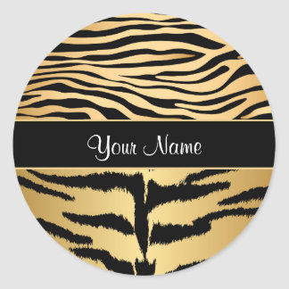 Black and Gold Metallic Tiger Stripes Pattern Classic Round Sticker