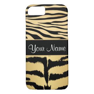 Black and Gold Metallic Tiger Stripes Pattern iPhone 8/7 Case