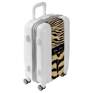 Black and Gold Metallic Tiger Stripes Pattern Luggage