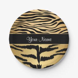 Black and Gold Metallic Tiger Stripes Pattern Paper Plate  sc 1 st  Zazzle & Tiger Stripe Plates | Zazzle