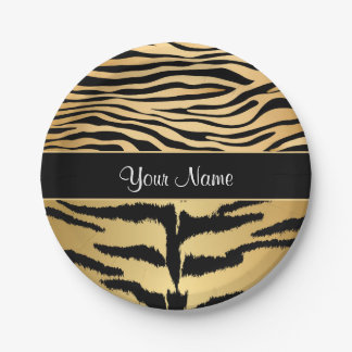 Black and Gold Metallic Tiger Stripes Pattern Paper Plate