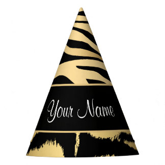 Black and Gold Metallic Tiger Stripes Pattern Party Hat