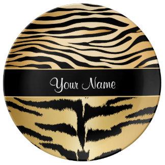 Black and Gold Metallic Tiger Stripes Pattern Porcelain Plate