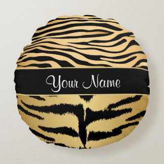 Black and Gold Metallic Tiger Stripes Pattern Round Pillow