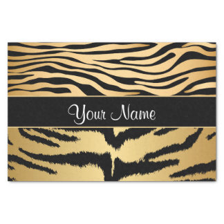Black and Gold Metallic Tiger Stripes Pattern Tissue Paper