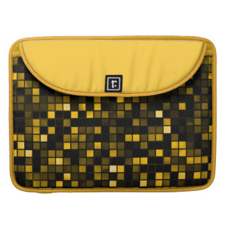 Black And Gold Meteor Shower Squares Pattern MacBook Pro Sleeves