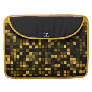 Black And Gold Meteor Shower Squares Pattern MacBook Pro Sleeve