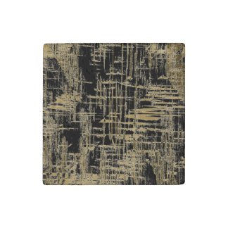 Black and Gold Modern Art Stone Magnet