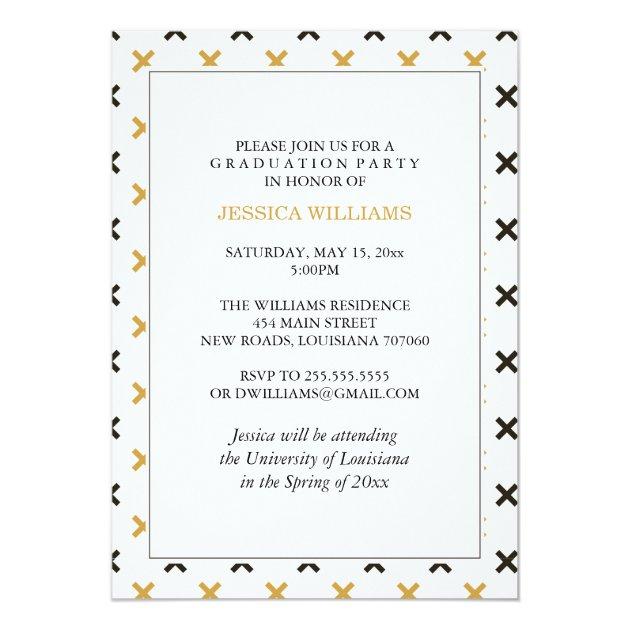 Black and Gold Modern Graduation Invitations (back side)