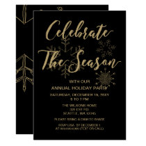 Black and Gold  Modern holiday Party Card