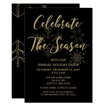 Professional Business Black and Gold  Modern holiday Party Card