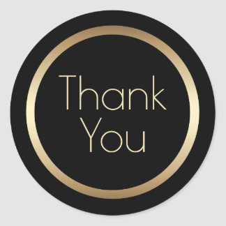 Black and Gold Modern Thank You Classic Round Sticker