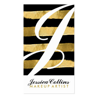 Black and Gold Monogram Business Cards