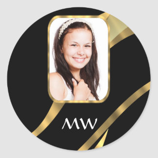 Black and gold monogram classic round sticker