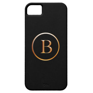Black and Gold Monogram Cover for iPhone 5, B