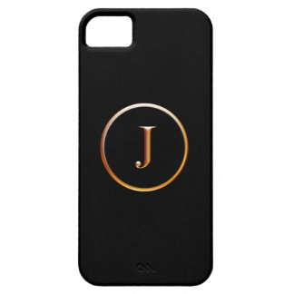 Black and Gold Monogram Cover for iPhone 5, J