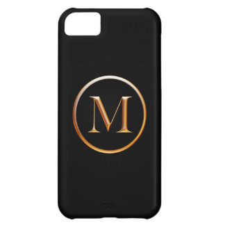 Black and Gold Monogram Cover for iPhone 5, M