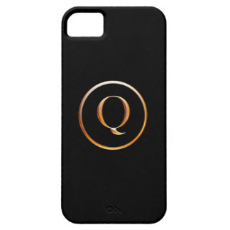 Black and Gold Monogram Cover for iPhone 5, Q