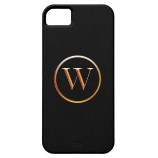 Black and Gold Monogram Cover for iPhone 5, W