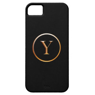 Black and Gold Monogram Cover for iPhone 5, Y