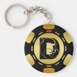 BLACK AND GOLD MONOGRAM LETTER D POKER CHIP KEY CHAIN