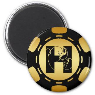 BLACK AND GOLD MONOGRAM LETTER H POKER CHIP 2 INCH ROUND MAGNET