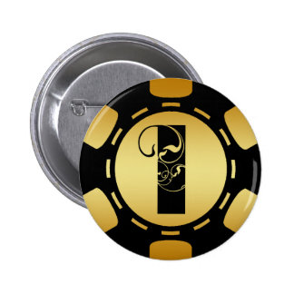 BLACK AND GOLD MONOGRAM LETTER I POKER CHIP 2 INCH ROUND BUTTON
