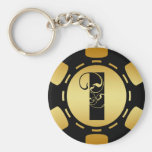 BLACK AND GOLD MONOGRAM LETTER I POKER CHIP KEY CHAINS