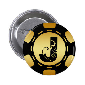 BLACK AND GOLD MONOGRAM LETTER J POKER CHIP 2 INCH ROUND BUTTON