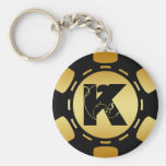 BLACK AND GOLD MONOGRAM LETTER K POKER CHIP KEY CHAIN