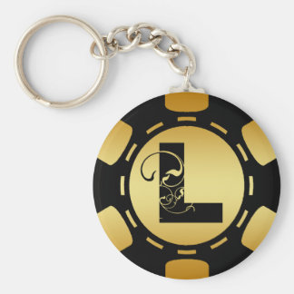 BLACK AND GOLD MONOGRAM LETTER L POKER CHIP BASIC ROUND BUTTON KEYCHAIN
