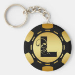 BLACK AND GOLD MONOGRAM LETTER L POKER CHIP KEYCHAINS
