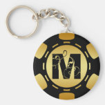 BLACK AND GOLD MONOGRAM LETTER M POKER CHIP KEYCHAIN