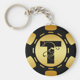 BLACK AND GOLD MONOGRAM LETTER T POKER CHIP BASIC ROUND BUTTON KEYCHAIN