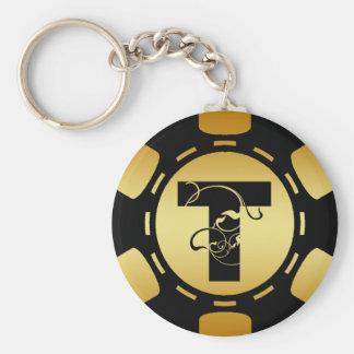 BLACK AND GOLD MONOGRAM LETTER T POKER CHIP KEYCHAIN