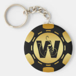 BLACK AND GOLD MONOGRAM LETTER W POKER CHIP KEYCHAINS