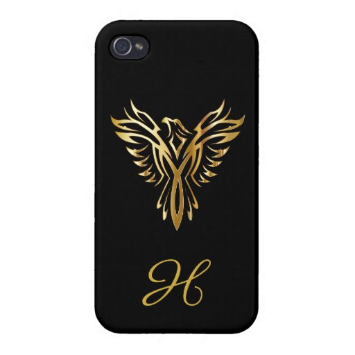 BLACK AND GOLD monogram phoenix rising Case For iPhone 4