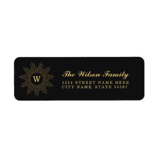 Black and Gold Monogram Return Address Labels