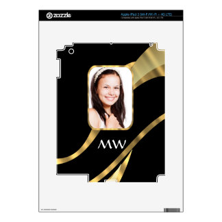 Black and gold monogram skin for iPad 3