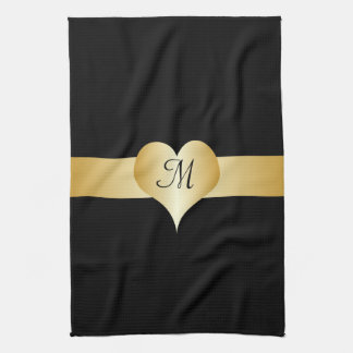 Black And Gold Monogrammed American MoJo Kitchen T Hand Towel