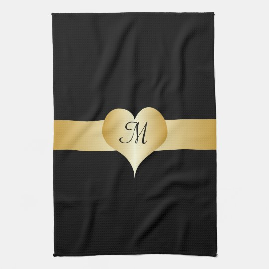 Black And Gold Monogrammed American MoJo Kitchen T Kitchen Towels
