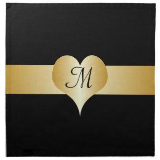 Black And Gold Monogrammed American MoJo Napkin