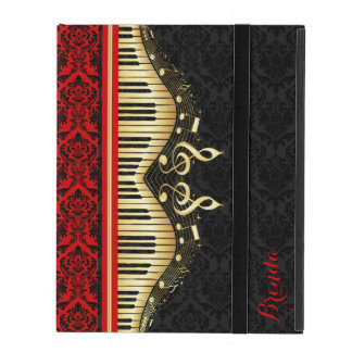 Black And Gold Music Notes Design Red Accents iPad Case
