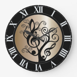 Black and Gold Music Treble Clef Tree Wall Clock