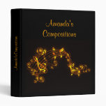 Black and Gold Musical Notes 3 Ring Binder