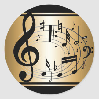 Black and Gold musical notes  background Classic Round Sticker