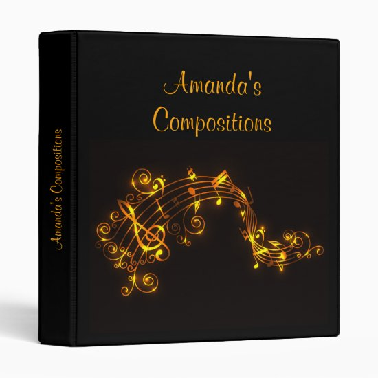 Black and Gold Musical Notes Binder