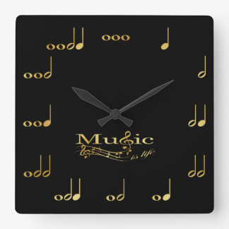 Black and Gold Musical Notes Square Wall Clock