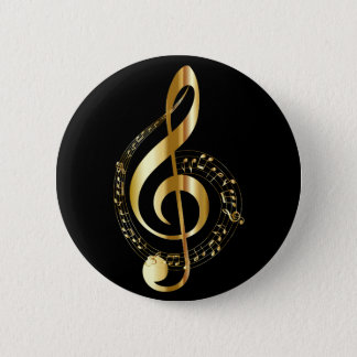 black and gold musicial note pinback button